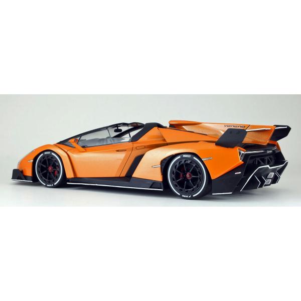 kyosho lamborghini veneno roadster orange with white line 118 scale diecast car
