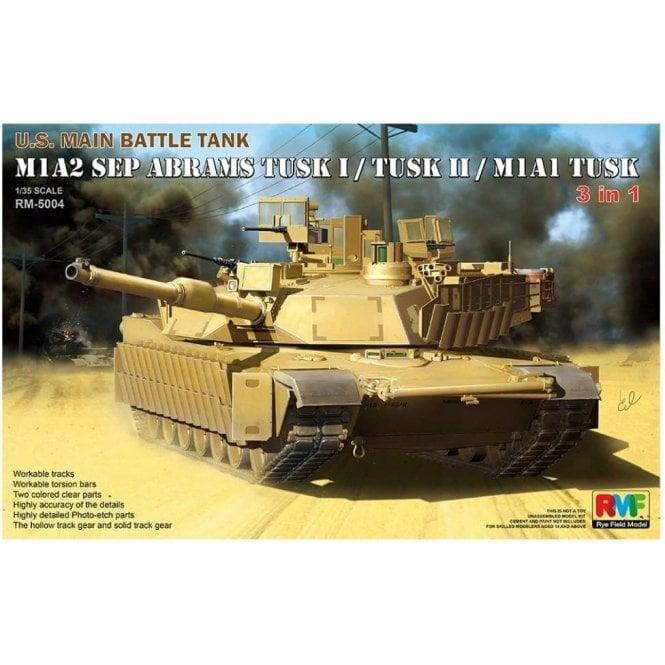 Rye Field Model M1A2 SEP Abrams US Main Battle Tank - Tusk-TuskI-TuskII Versions - 1:35 Scale Kit