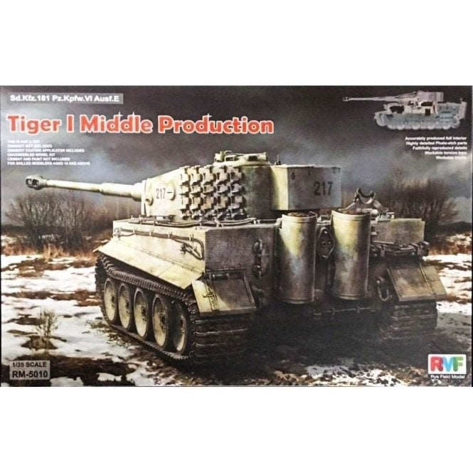Rye Field Model Tiger I Middle Production Otto Caruis with full Interior - 1:35 Scale Kit