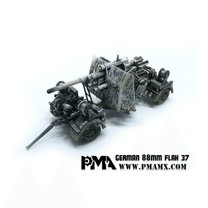 Precision Model Art 1:72 German 88mm FLAK 37 Snow & Trailer, German Army