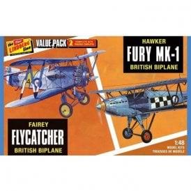 Lindberg Fairey Flycatcher & Hawk Fury - 1:48 Scale Aviation Kit