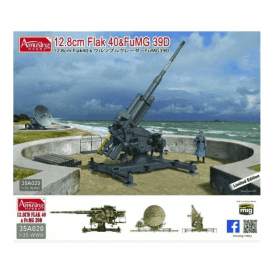 Amusing Hobby 1:35 German 12.8cm Flak 40&FuMG 39D 128 mm Gun and Radar Military Model Kit