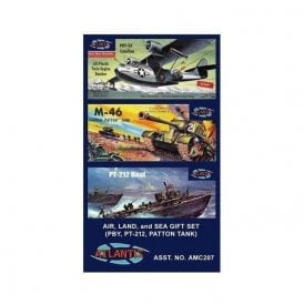 Atlantis Models Land Sea and Air Gift Set 3 kits in 1 box Military Model Kit