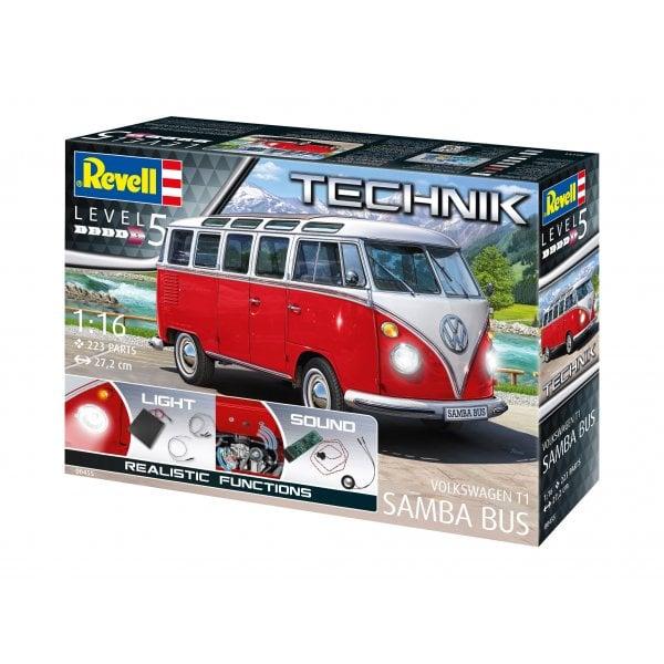 Revell Technik 1:16 Volkswagen T1 'Samba Bus' Car Model Kit - Lights &  Sounds