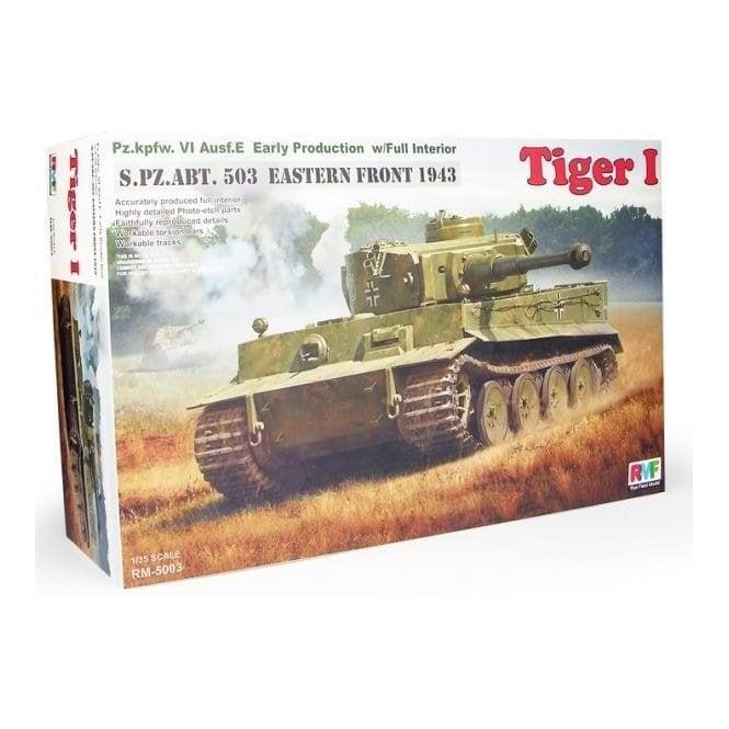 Rye Field Model 1:35 Pz.Kpfw.VI Ausf.E Tiger I w/Full Interior s.Pz.Abt.503 Eastern Front 1943 Military Model Kit
