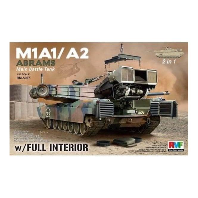 Rye Field Model 1:35 M1A1 / A2 Abrams w/ Full Interior 2 in 1 Miitary Model Kit