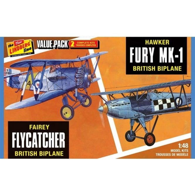 Linberg 1:48 Fairey Flycatcher & Hawk Fury Aircraft Model Kit