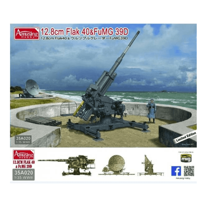 Amusing Hobby 1:35 German 12.8cm Flak 40 & FuMG 39D 128 mm Gun and Radar Military Model Kit