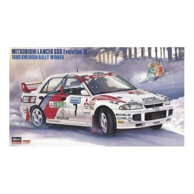 Hasegawa 1:24 Mitsubishi Lancer GSR Evolution III - 1996 Swedish Rally Winner Car Model Kit