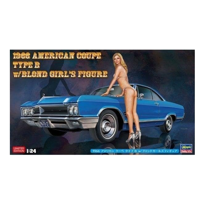 1:24 1966 American Coupe Type B with Blond Girl Figure Car Model Kit