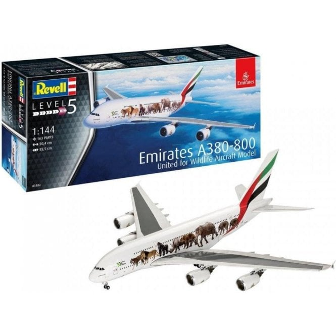 Revell 1:144 Airbus A380 Emirates ' Wild-Life ' Aircraft Model Kit