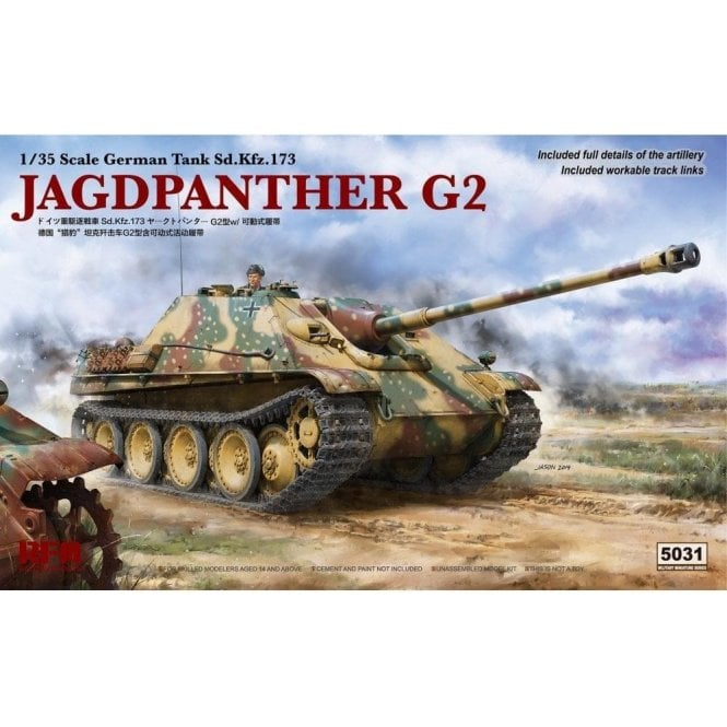 Rye Field Model 1:35 Sd.Kfz.173 Jagdpanther G2 & Workable Track Links Military Model Kit
