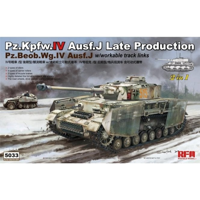 Rye Field Model 1:35 Pz.Kpfw.IV Ausf.J Late Production/ Pz.Beob.Wg.IV Ausf.J 2 in 1 Military Model Kit
