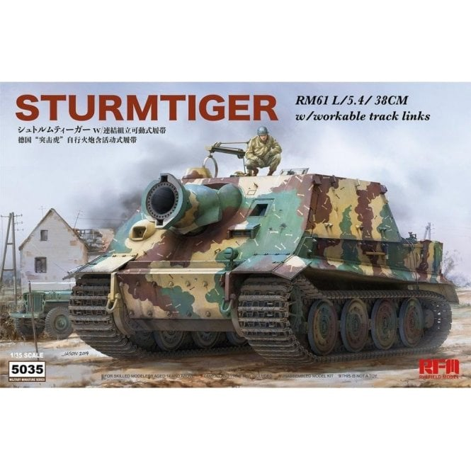 Rye Field Model 1:35 Sturmtiger RM61 L/5.4/38sm & Workable Track Links Military Model Kit