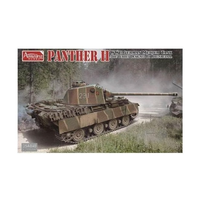 Amusing Hobby 1:35 Panther II Rheinmetall Turrett German Medium Tank Military Model Kit