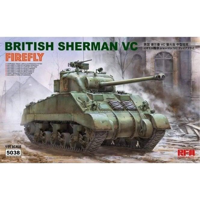"Rye Field Model 1:35 British Sherman VC Firefly ""VELIKIYE LUKI"" & Workable Track Links Military Model Kit"