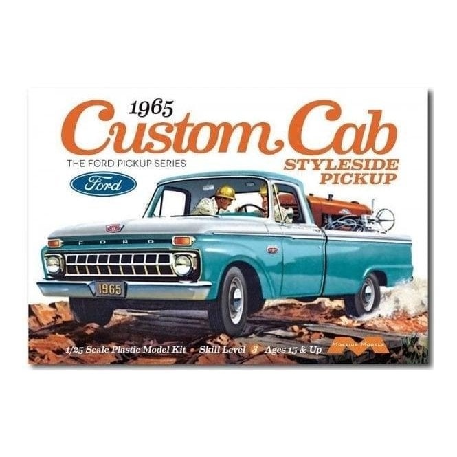 Moebius Models 1:25 1965 Ford F-100 Custom Cab Styleside Pickup Car Model Kit