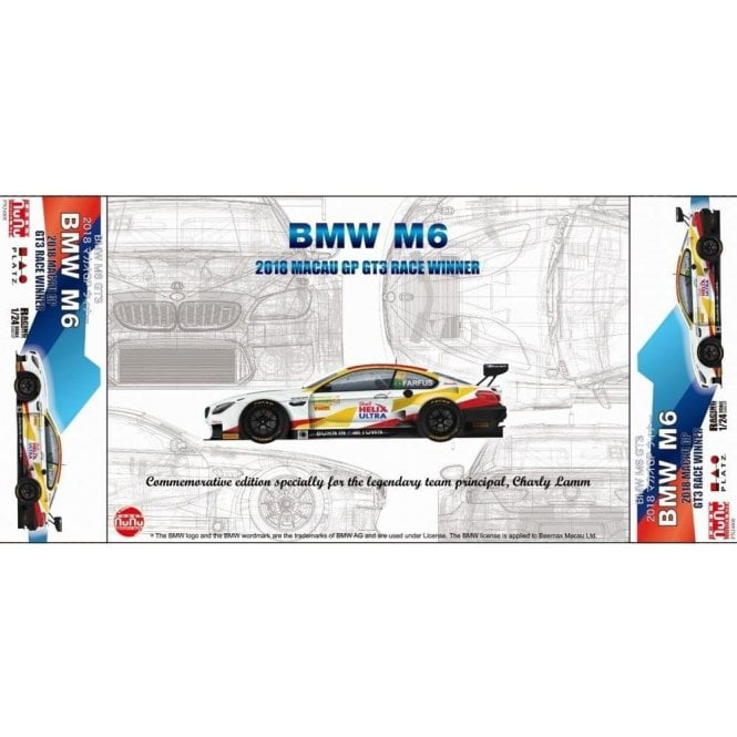 NUNU 1:24 BMW M6 Gt3 Special edition #3 Goodbye Charly team Schnitzer Car Model Kit