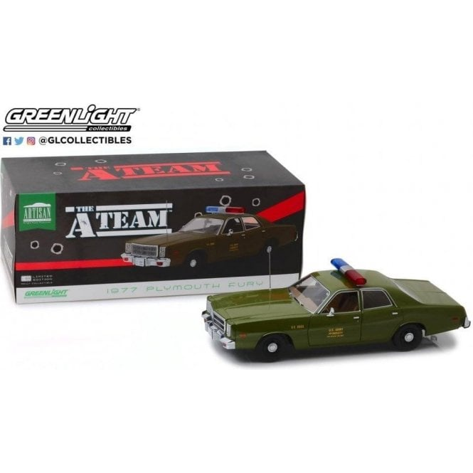 Greenlight 1:18 Artisan Collection - The A-Team (1983-87 TV Series) - 1977 Plymouth Fury U.S. Army Police Diecast Car