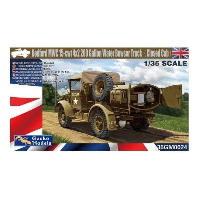 Gecko Models 1:35 Bedford MWC 15-cwt 4x2 200 Gallon Water Bowser Truck Military Model Kit