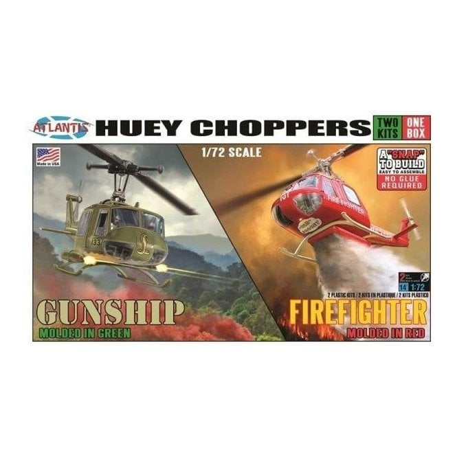 Atlantis Models 1:72 Huey Gunship and Fire Rescue Helicopter 2 pack SNAP KIT