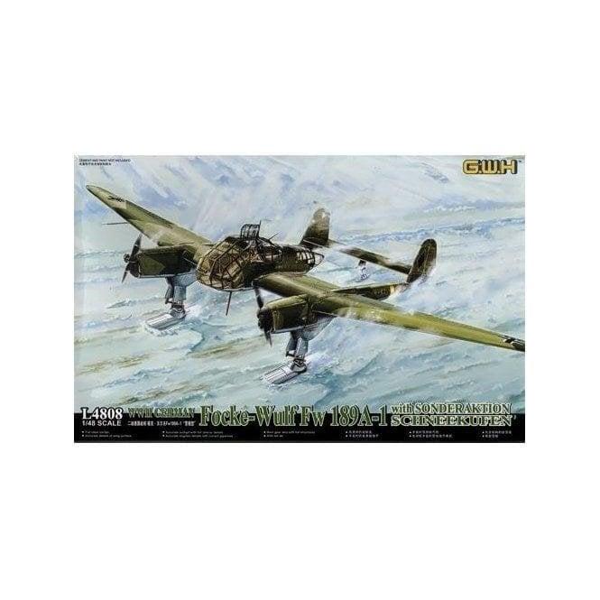 Great Wall Hobby 1:48 Focke-Wulf Fw189A-1 Luftwaffe With Sonderaktion Schneekufen Aircraft Model Kit