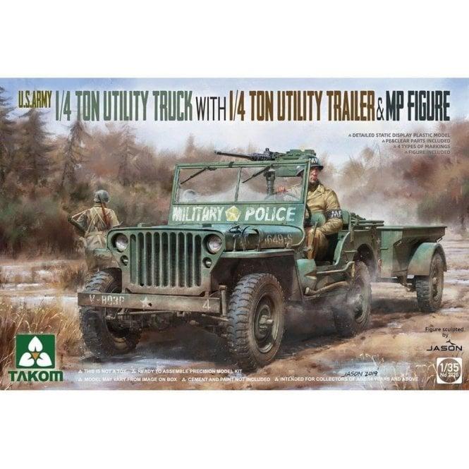 Takom 1:35 US 1/4 Ton Utility Truck with Trailer & Figure Model Military Kit