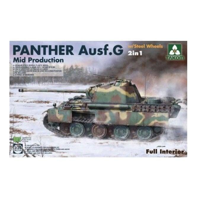 Takom 1:35 Panther G Mid Steelwheel 2in1 - full Interior Model Military Kit