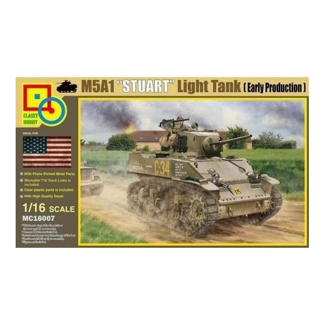 Classy Hobby 1:16 M5A1 Stuart Light Tank (Early Production) Military Model Kit