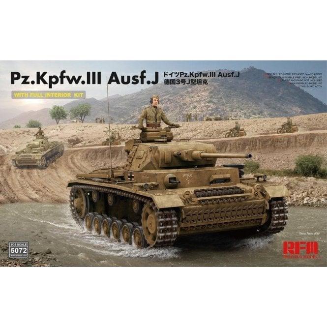 Rye Field Model 1:35 Pz.Kpfw.III Ausf. J Full Interior Kit Military Model Kit