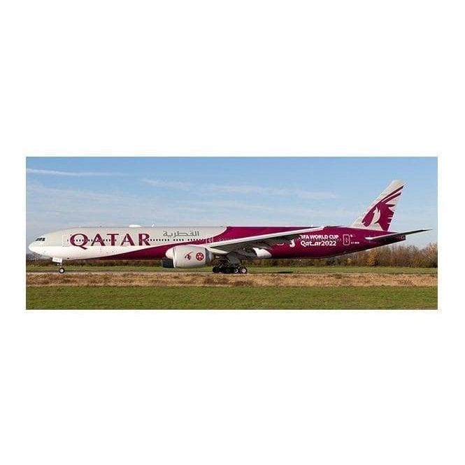 "JC Wings 1:400 Boeing 777-300ER Qatar Airways ""World Cup Livery"" Reg -  A7-BEB (Flaps Down) (With Antenna)"