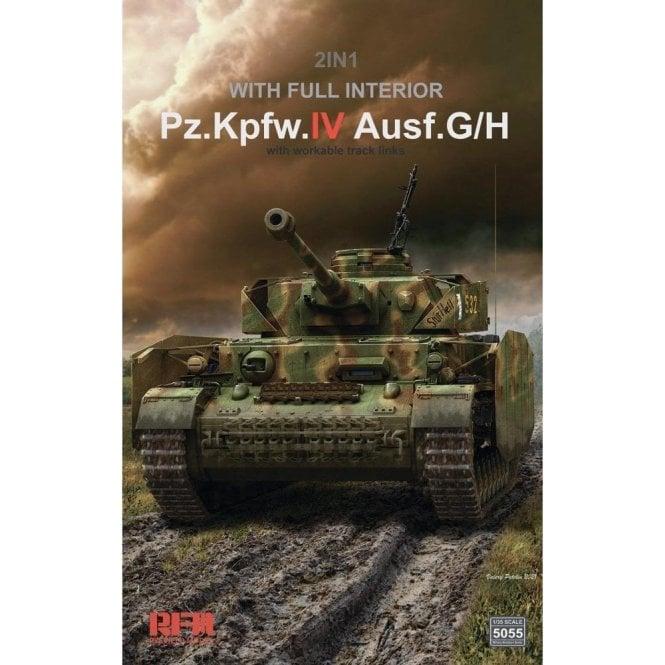 Rye Field Model 1:35 Pz.Kpfw.IV Ausf. G/H - Full Interior & Workable Track Links Military Model Kit