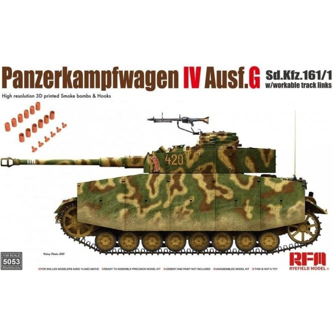 Rye Field Model 1:35 Panzerkampfwagen IV Ausf.G Sd.Kfz.161/1 Workable Track Links Military Model Kit