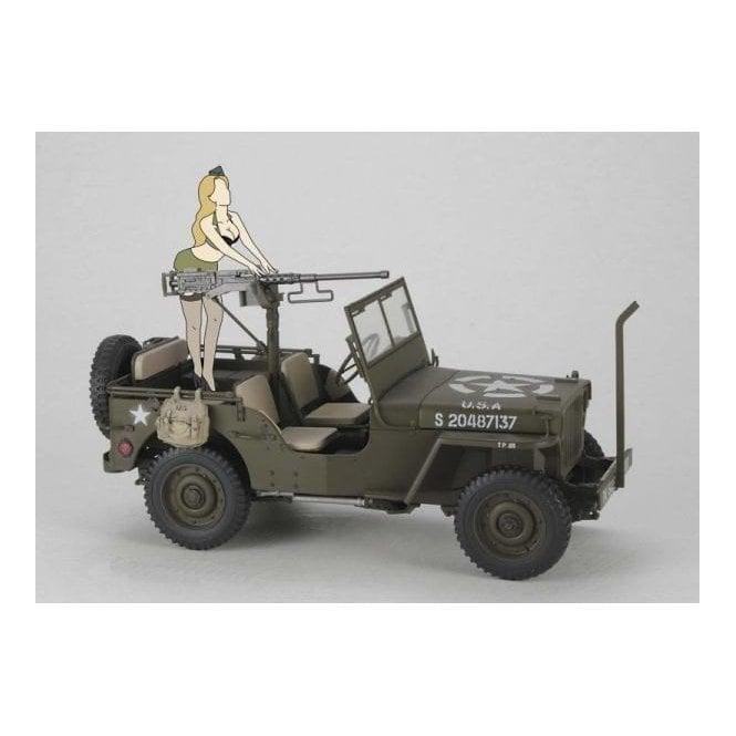 Hasegawa 1:24 1/4 Ton 4×4 Utility Truck (Cal. 50 M2 Machine Gun) W/Blond Girl's Figure Car Model Kit