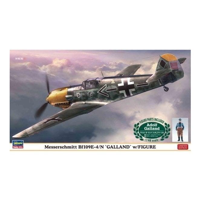 Hasegawa 1:48 Messerschmitt Bf109E-4/N Galland With Figure Aircraft Model Kit