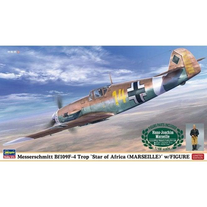 Hasegawa 1:48 Messerschmitt BF109F-4 Trop Star Of Africa W/Figure Aircraft Model Kit