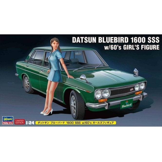 Hasegawa 1:24 Datsun Bluebird 1600 SSS With 60's Girl Figure Car Model Kit