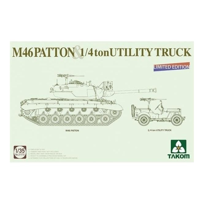 Takom 1:35 M46 Patton US Medium Tank + ¼ton Utility Truck Model Military Kit