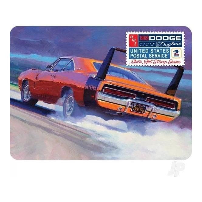 AMT 1:25 1969 Dodge Charger Daytona (USPS Stamp Series Collector Tin) Car Model Kit
