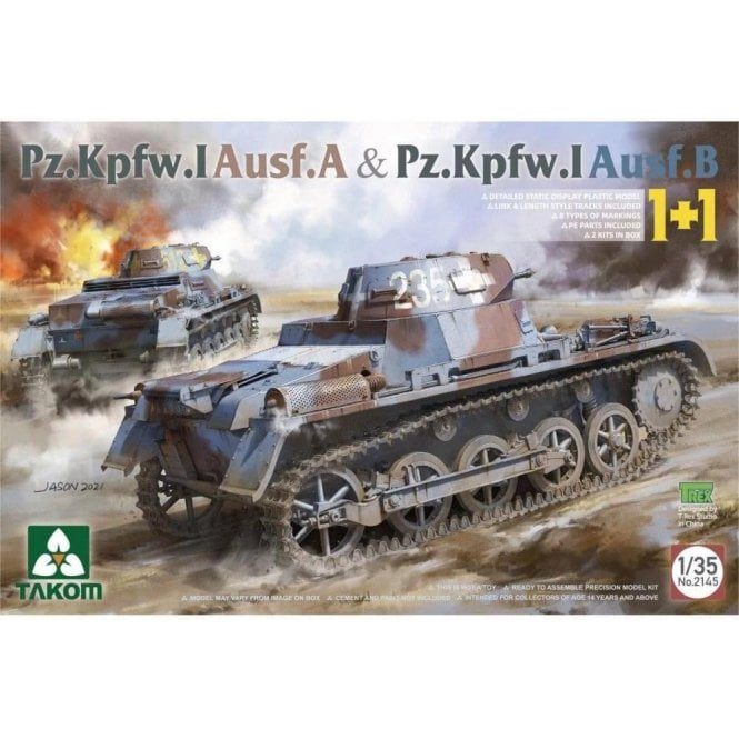 Takom 1:35 Pz.Kpfw. I Ausf. A & Pz.Kpfw. I version B 1 + 1 Model Military Kit