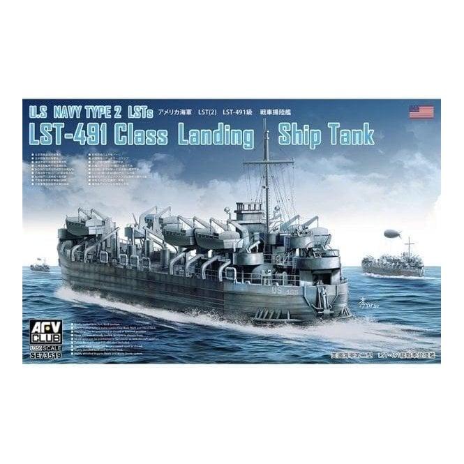 AFV Club 1:350 US Navy LST-491 Class WW2 Landing Ship Tank Model Ship Kit