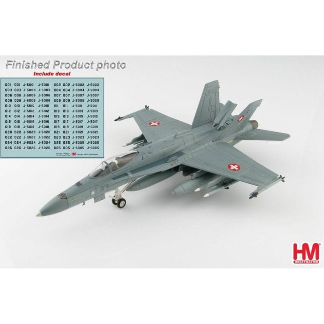 Hobby Master 1:72 F/A-18C Hornet Swiss Air Force (with decal from no : J-5001 to J-5026)