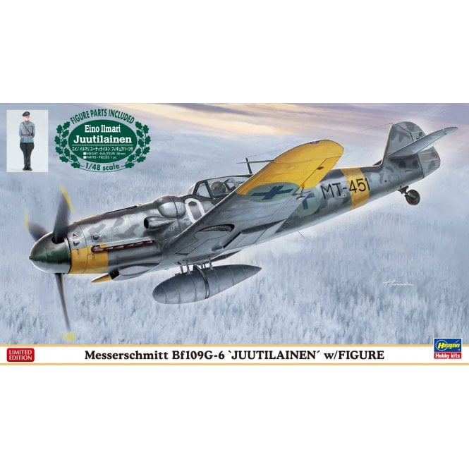 Hasegawa 1:48 Messerschmitt Bf109G-6 JUUTILAINEN & Figure Aircraft Model Kit