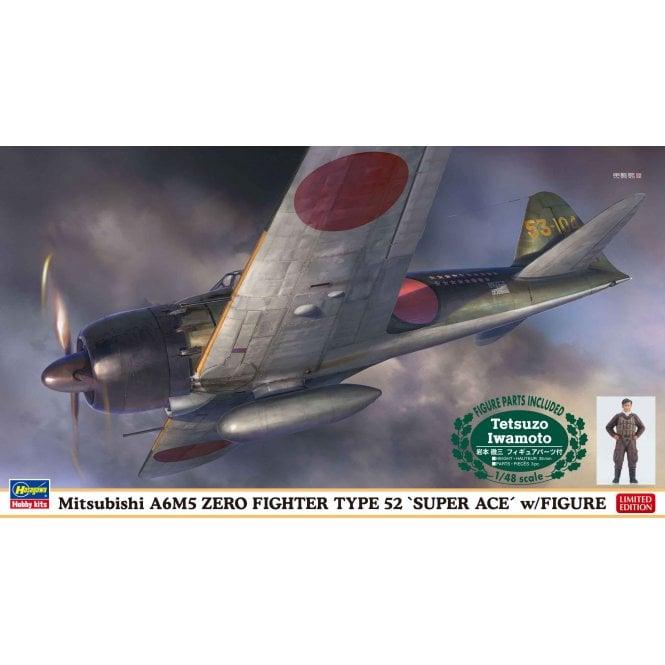 Hasegawa 1:48 Mitsubishi A6M5 Zero Fighter Type 52 Super Ace Figure Aircraft Model Kit