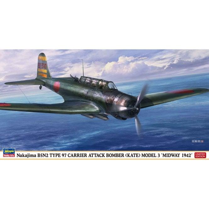 Hasegawa 1:48 Nakajima B5N2 Type 97 (Kate) Model 3 Midway 1942 Aircraft Model Kit