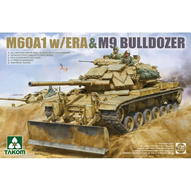 Takom 1:35 M60A1 w/ ERA & M9 Bulldozer attachment Model Military Kit