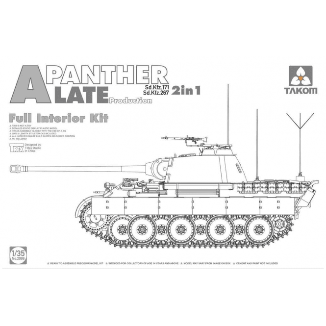 Takom 1:35 Sd.Kfz.171/267 Panther A Late & interior 2 in 1 Model Military Kit