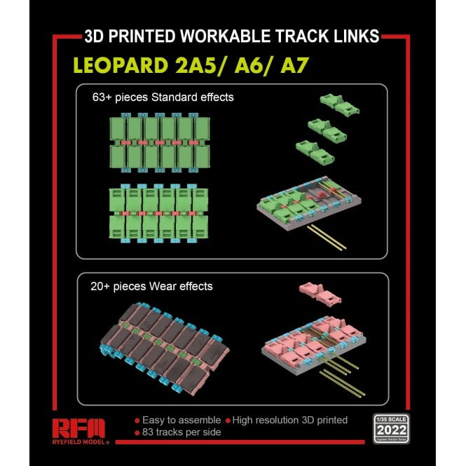 Rye Field Model 1:35 Workable track links for LEOPARD 2A5/A6/A7 (3D printed ) Military Model Kit