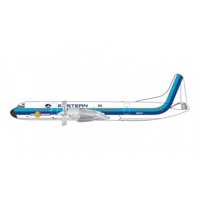 Gemini Jets 1:400 L-188 Electra Eastern Airlines ' Hockey Stick Livery ' Polished Belly - Reg - N5517