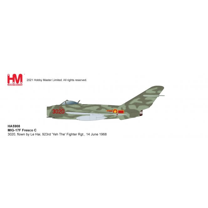 Hobby Master 1:72 MIG-17F Fresco C 3020, flown by Le Hai, 923rd 'Yeh The' Fighter Rgt., 14 June 1968
